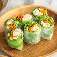 These Chicken Spring Rolls will be your favorite food for a summer lunch. Heaps of refreshing vegetables, fresh mint, and chicken, all wrapped up in rice paper rolls and ready to dip in a delicious, savory sesame sauce! Healthy Dinner Recipes, Appetizer Recipes, Cooking Recipes, Italian Appetizers, Rice Wraps, Rice Paper Wraps, Chicken Spring Rolls, Chicken Rice Paper Rolls, Fresh Spring Rolls
