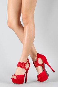 f829264bca8 £39.99 Shoehorne Phoebe-11 - Womens Red Faux Suede Jeweled Open Toe High  Heel Stiletto Sandals Platform Tribute Heeled Shoes - Avail in Ladies Size  3-8 UK  ...