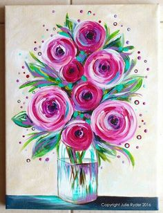 Easy-Acrylic-Canvas-Painting-Ideas-For-Beginners flower canvas paintings, e Easy Canvas Painting, Spring Painting, Acrylic Canvas, Diy Painting, Easy Flower Painting, Easy Acrylic Paintings, Heart Painting, Canvas Canvas, Easy Painting For Kids