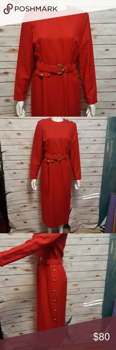 d231af8dc3a  vintage  Red military inspired dress Circa 80s. Military inspired dress  with slit down
