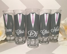 Personalized Shot Glasses with Tuxes Groom and Groomsmen
