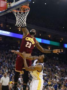 04d24cb7d311 LeBron James dunks over Andre Iguodala. Warriors Cavaliers, Kyrie Irving,  Andre Iguodala,