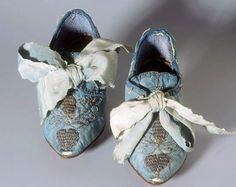 "Captivating shade of sky blue silk damask in this pair of children's shoes, from Zurich, 1750. Blue silk, silver embroidery, metallic ""lace,"" leather heels & soles. Swiss National Museum @webcollection.nationalmuseum.ch"