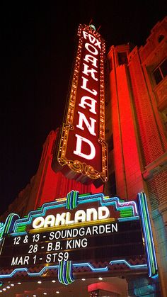 Fox Theater, Oakland - another great place like the Filmore in SF to hear live music indoors.