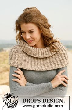 """Cappuchino - Knitted DROPS neck warmer with English rib in """"Nepal"""". - Free pattern by DROPS Design Knitting Stitches, Knitting Patterns Free, Knit Patterns, Free Knitting, Free Pattern, Knitted Cape, Knit Cowl, Knitted Shawls, Drops Design"""