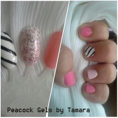 Practice Inspiration Gel and Polish. Stripes And Glitter Nails For Manicure And Pedicure
