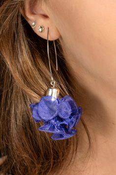 Purple Earrings, Unique Funky Long Flower Bohemian Statement Dangle Drop Earrings For Women, Fabric Wearable Art Textile Jewelry, Handmade Shibori Fashion Accessory Gift For Wife Mom Sister Birthday #fungistudio #fabricearrings #dangleearrings #LongEarrings #StatementEarrings #FunkyEarrings #Avantgardejewelry