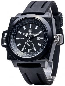 Smith & Wesson SWW-LW6097 Dive-Style Ego Watch - Square Housing, Black Resin Strap. Nice wrist candy for only $35, one of the lowest prices on the Web! http://www.velocitysportswatch.com/product/SWW-LW6097