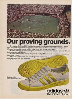 Forest hills adidas tennis shoe vintage ad with forest hills tennis stadium vintage adidas, chanel Vintage Tennis, Vintage Adidas, Vintage Shoes, Shoes Ads, On Shoes, Football Casual Clothing, Sports Shoes For Girls, Tennis Match, Shoe Wardrobe