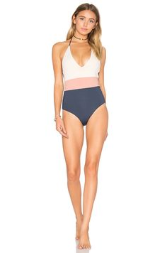 TAVIK Swimwear Chase One Piece Swimsuit in Tapioca Color Blocked