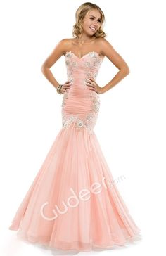 Prom Mermaid Strapless Lace Appliqued Pleated Chiffon Dress