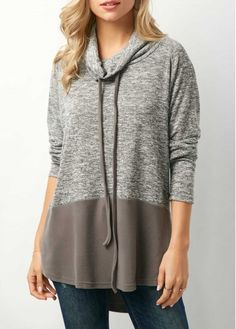 Cowl Neck Drawstring Color Block Sweatshirt on sale only US$33.77 now, buy cheap Cowl Neck Drawstring Color Block Sweatshirt at liligal.com