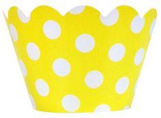 Cupcake Wrapper 20pcs Lemon with White Polka Dots