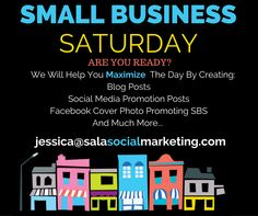 #SmallBusinessSaturday is only a few weeks away! If you are looking for unique ways to market your business this #SBS give Sala Social Marketing a shout. From blogs to social media posts, we have proven ways to get your #smallbusiness noticed this year!  #marketing #affordable #customsolutions
