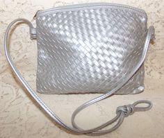 Vintage Small Shoulder Bag Woven/Weave Style Soft Silver Color #Unmarked #ShoulderBag