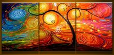 Colorful Tree Design 3 panel painting triptych by LoveCustomArt