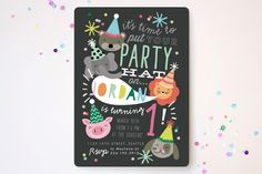 Party Hat Animals Children's Birthday Party Invitations by Alethea and Ruth at minted.com