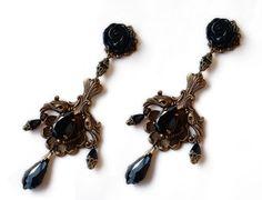 Avant Garde Earrings Long Dangle Earrings Brass Gold by Aranwen
