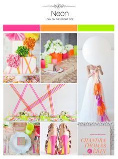 Neon wedding inspiration board, color palette, mood board