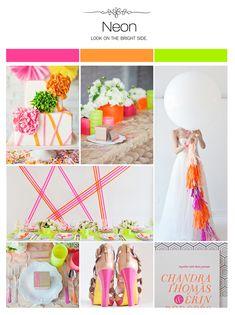 Neon wedding inspiration board, color palette, mood board