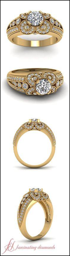 Milgrain Florid Ring || Round Cut Diamond Engagement Rings With White Diamond In 14K Yellow Gold