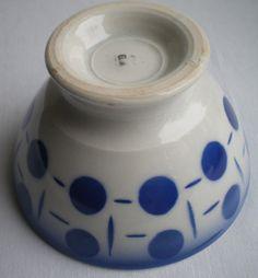 French Art Nouveau Majolica bowl signed FB France Badonviller: Blue dots