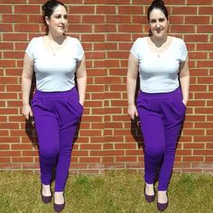 Hi all! How are you? I had root canal work today...always fun  It went fine but was long & uncomfortable! So to cheer us all up here's my colourful OOTD from the weekend. .  @boohoo Diane trousers in Blackcurrant.  @hm basic white tee.  @primark purple pumps.  @missomalondon horn necklace. . [Image description: two images of a pale curvy woman leaning against a brick wall. Wearing a white fitted tee purple trousers & purple flat pumps]. . . . . . . #missoma #whitetee #purpletrousers #purple…