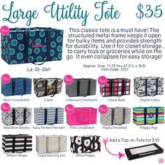 Large Utility Tote by Thirty-One. Fall/Winter 2016. Click to order. Join my VIP…
