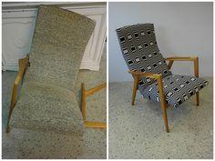 Ennen ja jälkeen. Before and after.  50-luvun nojatuoli uudelleenverhoiltuna Johanna Gullichsenin Doris kankaalla.
