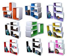 4 #piece retro #floating shelves cube bookcase display #shelf storage new color, View more on the LINK: http://www.zeppy.io/product/gb/2/161635663154/