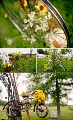 Bicycle Wheels with Flowers as Wedding Decorations Omg...can we move here and sleep on the grass in the sun all day?..