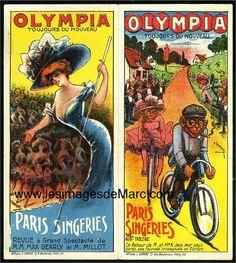 """L'Olympia est inauguré en 1893 à Paris. En 1909, on peut y voir jouer une """"Revue à grand spectacle"""" : """"Paris-Singeries"""", dont voici deux exemples de programmes (recto-verso). Illustrateur : L. Damaré. Original document. www.lesimagesdemarc.com"""