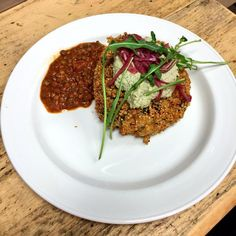 Quinoa crusted duo potato cakes with spinach and regatto cheese, pumpkin pate and pickled red onions Cheese Pumpkin, Pickled Red Onions, Potato Cakes, Superfoods, Quinoa, Pickles, Risotto, Spinach, Pear