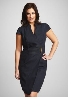 SANDRA DARREN  Plus Cap Sleeve Dress with Front Detail