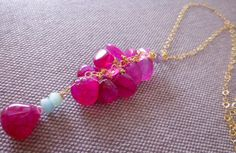 Pink Jade with Aqua Opal Pendant with Gold Filled Chain Necklace by StudioVK on Etsy https://www.etsy.com/listing/264471626/pink-jade-with-aqua-opal-pendant-with