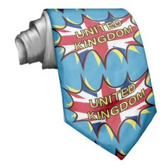 """Flag of The United Kingdom """"KAPOW"""" starburst  tie for him  The flag of the United Kingdom of Great Britain. The red, white and blue, Union Jack. This flag is displayed in a comic book style starburst (the type you would see in a fight with pow, boom, kapow written in it.) The star is outlined in black and is shadowed by comic style yellow spots. Across the flag is the word UNITED KINGDOM, written in similar yellow dots.    Created By Piedaydesigns"""