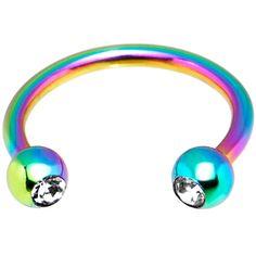 "16 Gauge 3/8"" Rainbow Titanium Horseshoe Circular Barbell   Body Candy Body Jewelry"