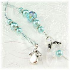 Blue Angel Beaded Thong Bookmark