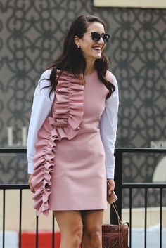 Ruffles and Tumblr pink? Yes, please. #refinery29 http://www.refinery29.com/2016/09/123831/lfw-spring-2017-best-street-style-outfits#slide-3
