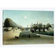East Urban Home 'A View of the Ile Saint-Louis From Port Saint-Nicolas, Evening, c.1888' by Henri Rousseau Painting Print on Wrapped Canvas Size: 1...