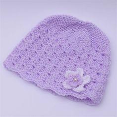 baby girl | crochet beanie | mauve with white flower, gift newborn - 9+ months