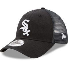 Men s New Era Black Chicago White Sox Trucker Washed Original Fit 9FORTY  Adjustable Hat New Era a29560700b71