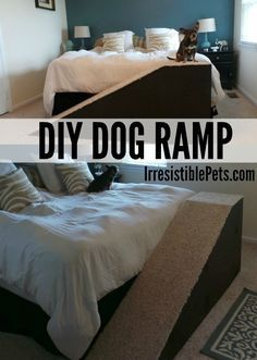 Have a senior dog or small pup? This DIY dog ramp helps your dog hop into bed with you without having to struggle! Dog Ramp For Bed, Pet Ramp, Diy Dog Bed, Pet Stairs For Bed, Diy Bed, Animal Projects, Diy Projects, Diy Stuffed Animals, Dog Care