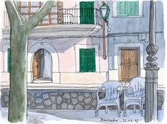 Binissalem, Mallorca | por KatrinMerle #LandscapeSketch Urban Sketchers, Building Illustration, Landscape Sketch, Watercolor Sketch, Cubism, Woodblock Print, Art Quotes, Concept Art, Sketches