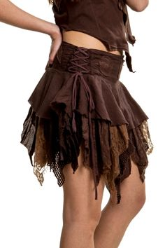 Elfin Fairy Skirt, faery pixie skirt, Goa psy trance skirt - Brown