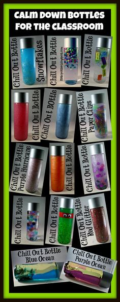 Sensory Calm Down Bottles for the Classroom! Huge selection! More