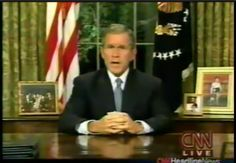 In this video, George Bush is addressing the U.S.A the night of the 9/11 attacks. He assures that the U.S is safe and that he declares war on terror