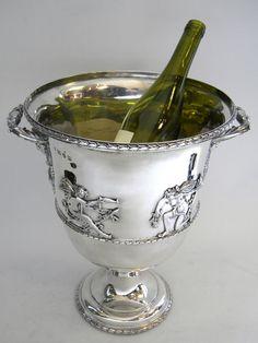 Antique Silver Wine Cooler - Trophy Ice Bucket London C.1906