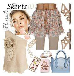 """""""Floral Skirt Contest"""" by petalp ❤ liked on Polyvore featuring Twister, Raxevsky, Lana, Sam Edelman, Express, River Island, Lele Sadoughi, Lipsy, ootd and Floralskirts"""