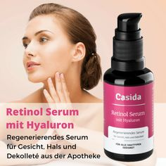 Aging Tipps High quality anti-aging serum with retinol, vitamin C, vitamin E and hyaluronic acid. Suitable for all skin types. Casida Retinol Serum from the pharmacy. Serum Anti Age, Anti Aging Moisturizer, Skin Serum, Facial Serum, Best Anti Aging, Anti Aging Skin Care, Vitamin E, Creme Anti Age, Skin Care Tips